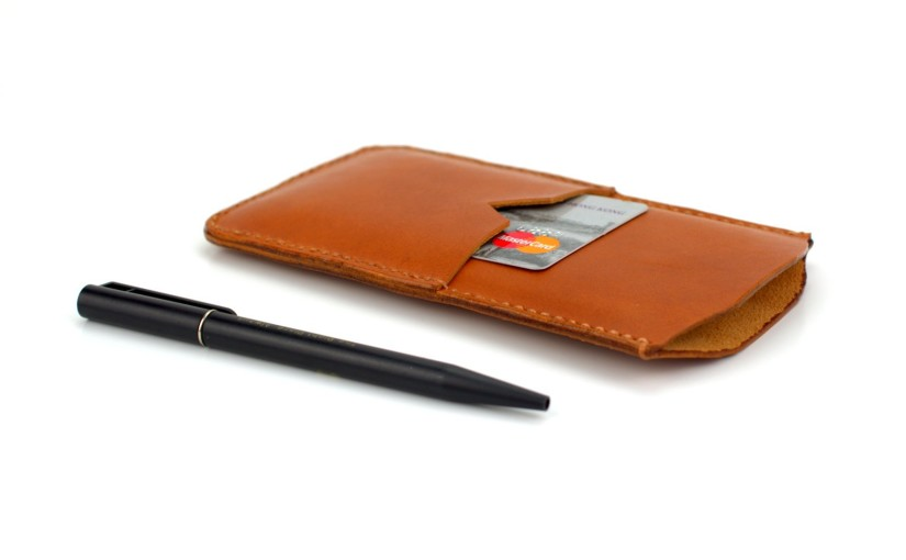 Brown Leather Phone Case With Pen